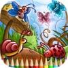 彩图昆虫和蜘蛛:学画画和颜色蜜蜂,蜘蛛等