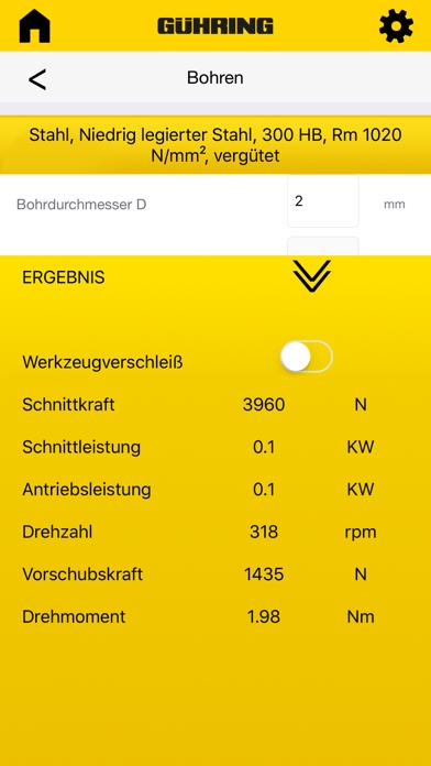 Gühring Schnittkraftrechner screenshot one