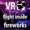 VR Virtual Reality Drone Flight inside Fireworks
