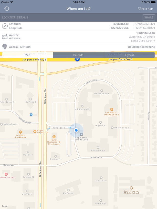 Where Am I At On The App Store - Altitude and longitude finder