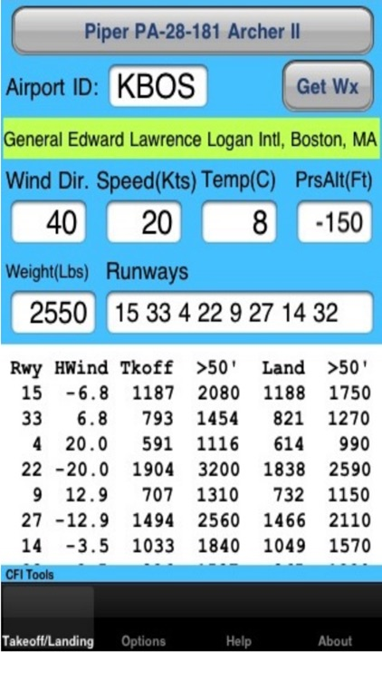 CFI Tools Takeoff Landing Distance