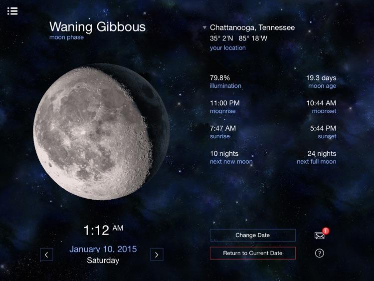 Lunar Phases calendar for the moon