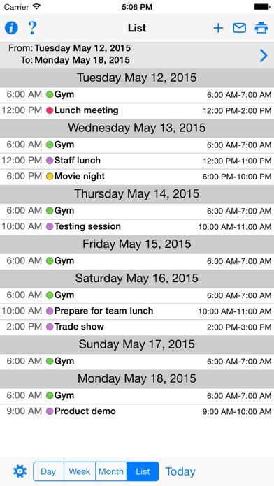 CalPrint for iPhone Screenshots