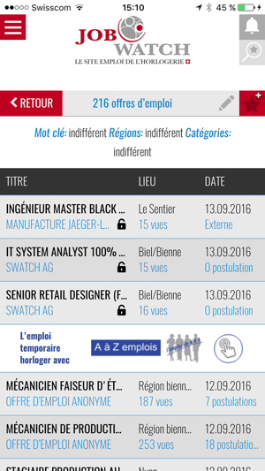 Job Watch Emplois Horlogers Dans L App Store