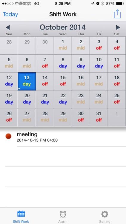 Shift worker's calendar