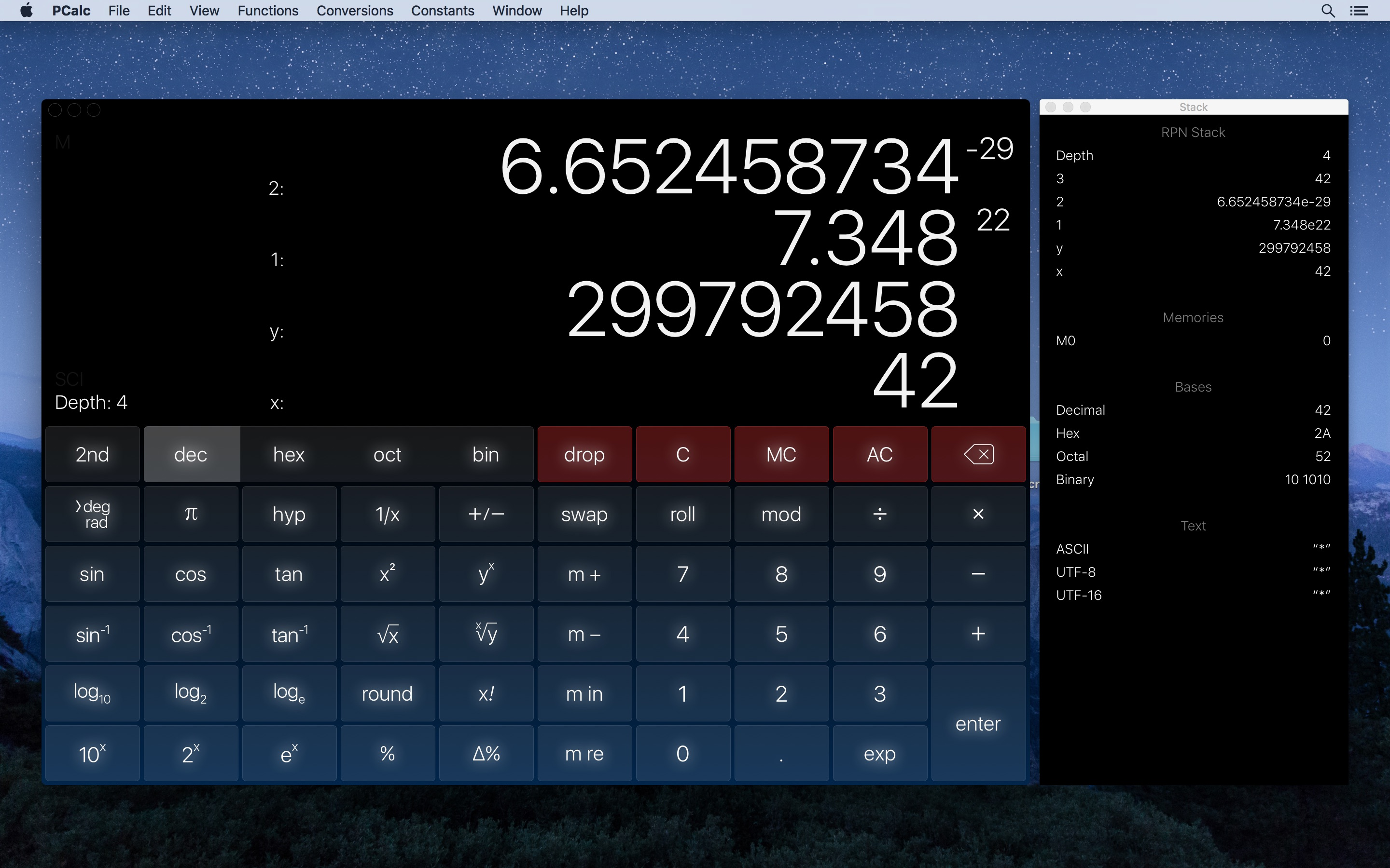 Screenshot do app PCalc