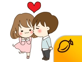 The Love Story of Cute Couple offers cartoon-style stickers of a young couple for you to share in your messages