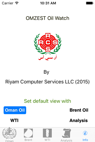Screenshot of OMZEST Oil Watch