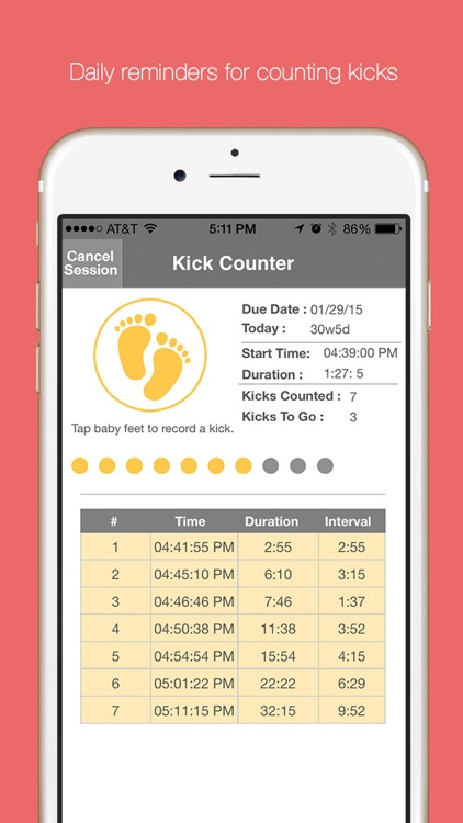 Baby Kick Counter & Monitor - Fetal movement and pregnancy tracker.