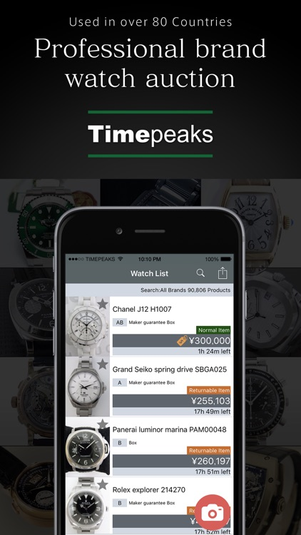 Timepeaks watch auction