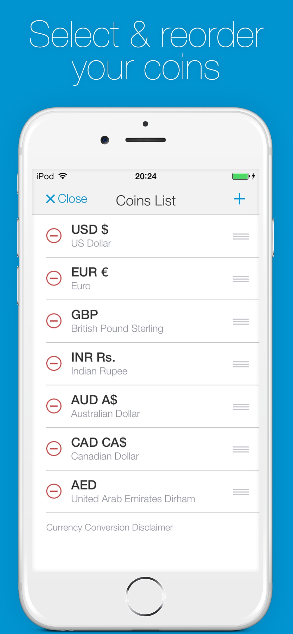 Screenshot do app Change - Currency Converter