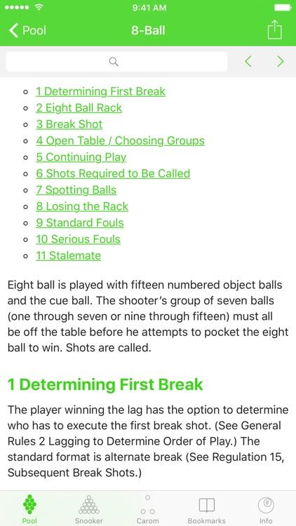 Billiard Rules