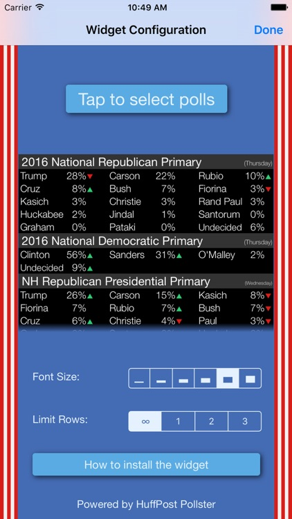 Election 2016: Poll Tracker Today Widget + Flappy Candidate Game