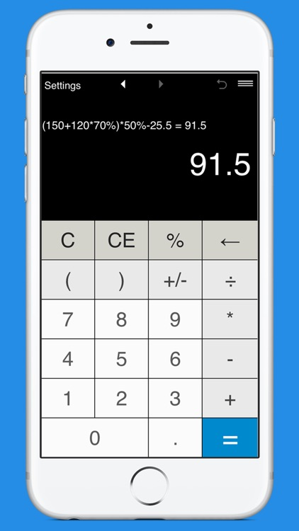Calculator with parentheses