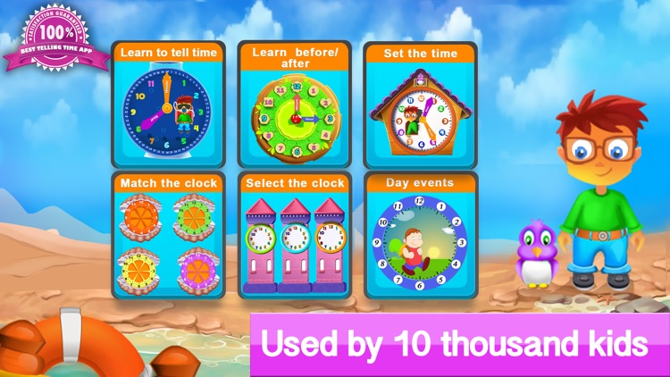 Telling the time - Teaching telling time with interactive clocks and fun games screenshot-0