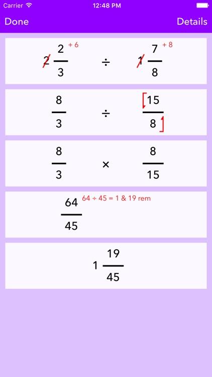 Fraction Help — Solver + Working