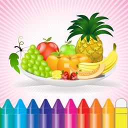 Food Coloring Book for Kids - Fruit Vegetable drawing games