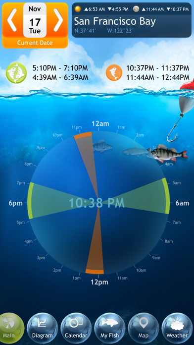 Fishing Deluxe - Best Fishing Times Calendar Screenshot 1
