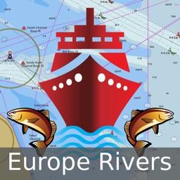 Europe Rivers - Canals/Waterways - Danube, Drava, Sava, Rhine, Moselle, Garonne, Tisa - Offline Gps Charts