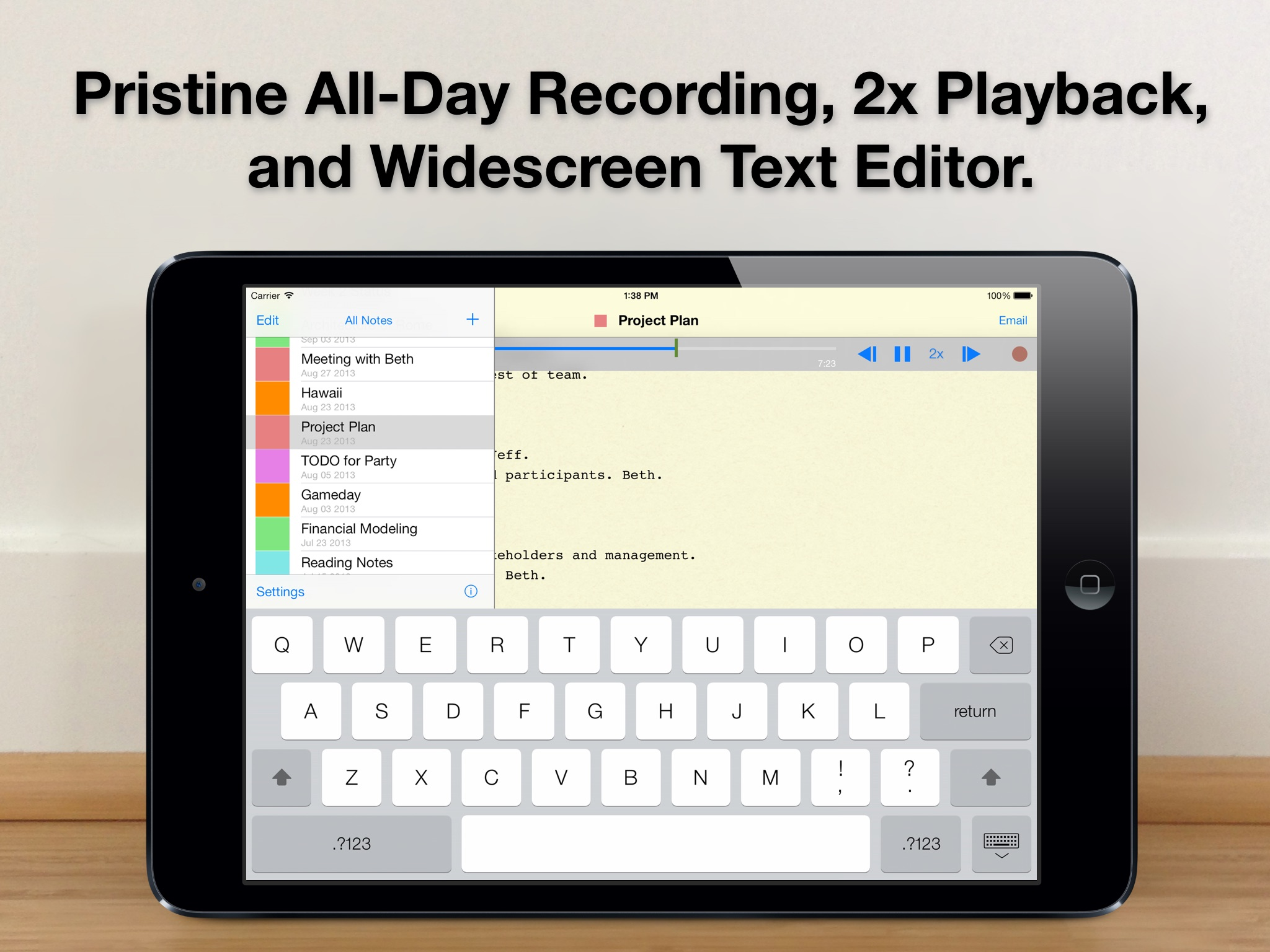 Screenshot do app Audio Notebook: Sound Recorder