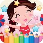 Niñas Dibujo Para Colorear Libro - páginas ideas arte Linda caricatura para niños icon