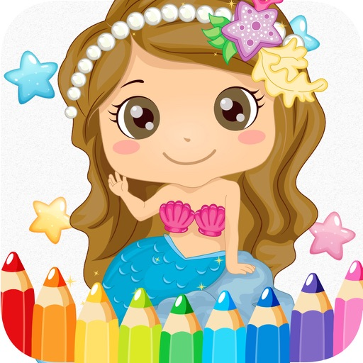 princess mermaid coloring pages free for girl kids 2 iOS App
