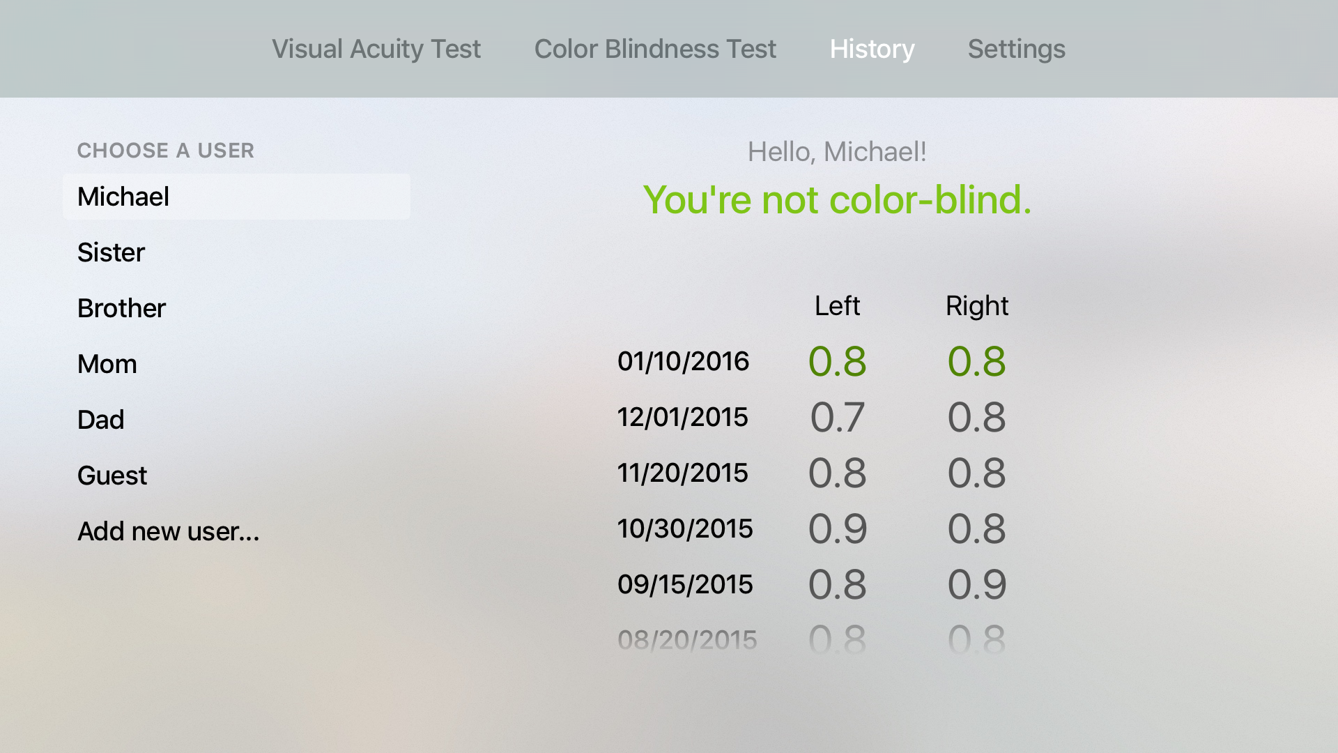 EyeKeeper - Visual Acuity Test, Color Blindness Test and Multi-Users History Tracker screenshot 4