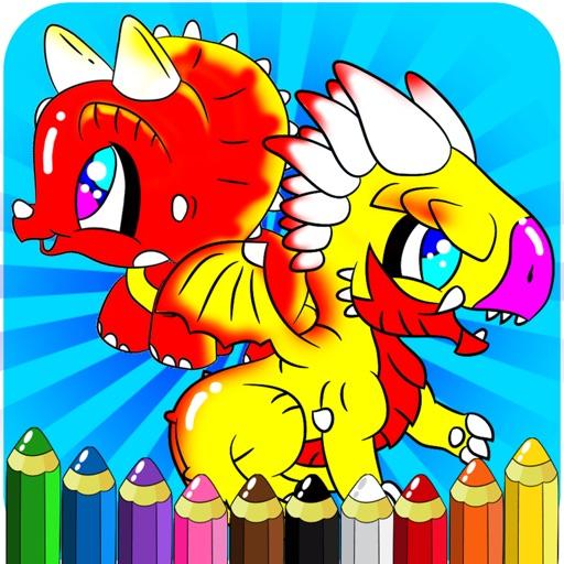 恐竜とドラゴン着色書籍 - 子供のためのデッサン絵画ゲーム