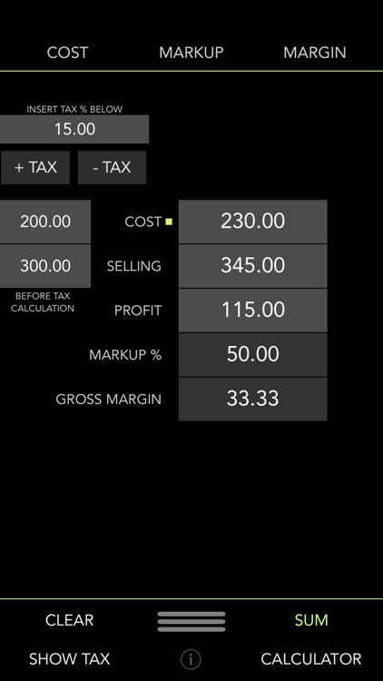 iMargin - Cost, Markup, Margin + Tax Calculator