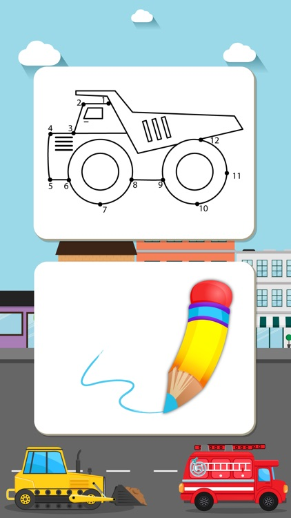 Trucks Connect the Dots and Coloring Book for Kids Lite