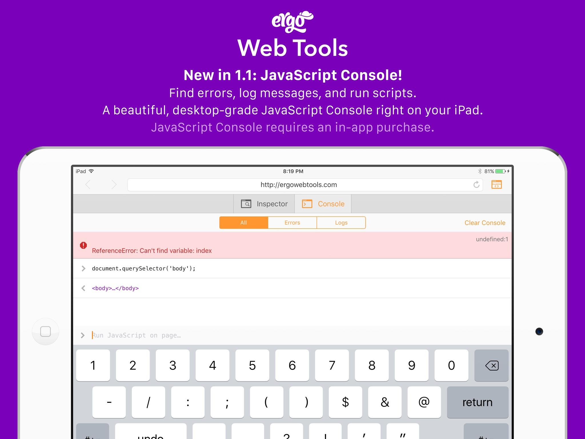 Screenshot do app Ergo Web Tools