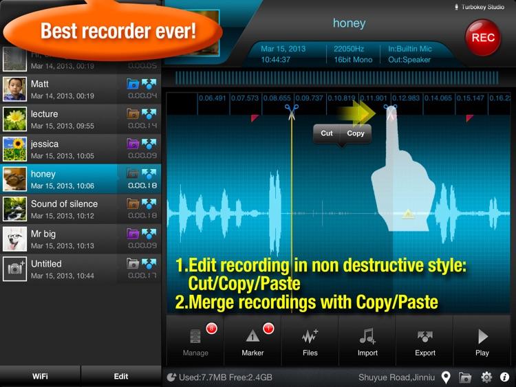 Recorder Plus - voice recorder & audio editor HD screenshot-0