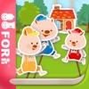 【無料版】3びきのこぶた   ~ぬりえで遊べる赤ちゃん・子供向けのアニメで動く絵本アプリ:えほんであそぼ!じゃじゃじゃじゃん童謡シリーズ - iPhoneアプリ