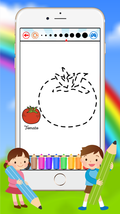 Vegetable & Fruit Coloring Book - Drawing Connect dots kids screenshot three