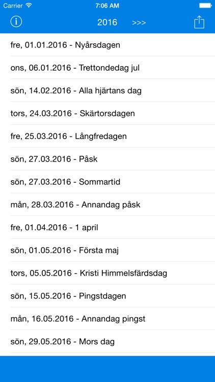 Svenska Helgdagar - Kalender 2016 i Sverige för Semester och Lov Planering screenshot-3