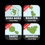 Choosen Islands of FRENCH POLYNESIA Travel Map Bundle