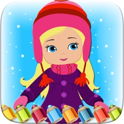 Little Girls Colorbook Drawing to Paint Coloring Game for Kids