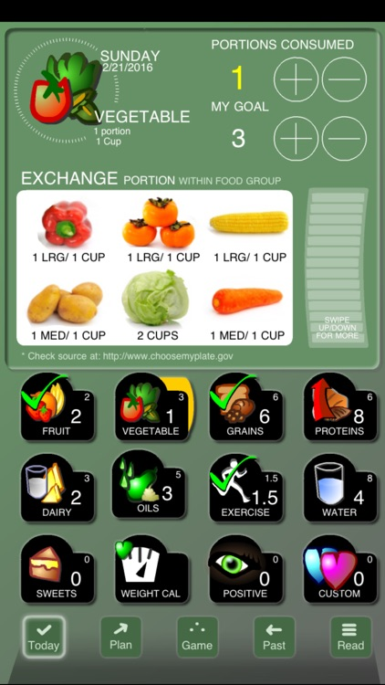 Checkoff Portions Diet Tracker - Visual Group Exchanges