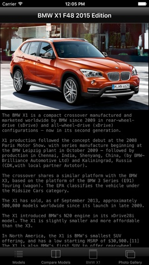 Specs for BMW X1 F48 2015 edition on the App Store