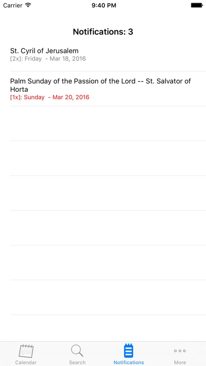 Catholic Calendar with notifications