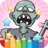 Coloring Book Cute Zombie Colorings Pages - pattern educational learning games for toddler & kids