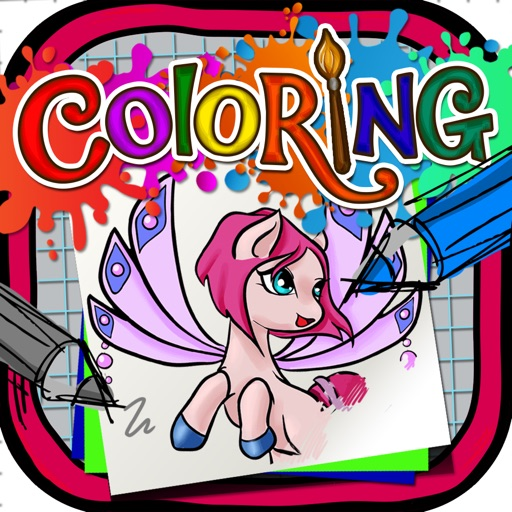 Coloring Book : Painting Pictures on Fairy Pony Magic on Cartoon For Pro
