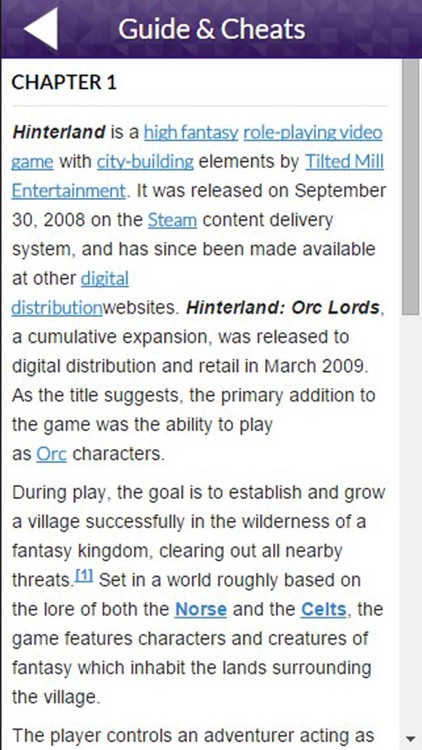 PRO - Hinterland Game Version Guide