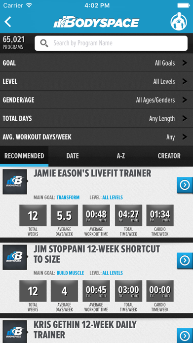 BodySpace - Social Fitness App Screenshot
