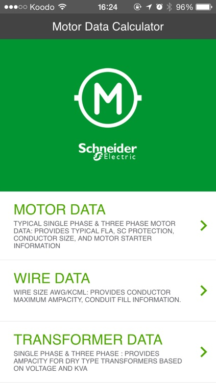 Motor Data Calculator by Schneider Electric