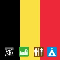 Leisuremap Belgium, Camping, Golf, Swimming, Car parks, and more