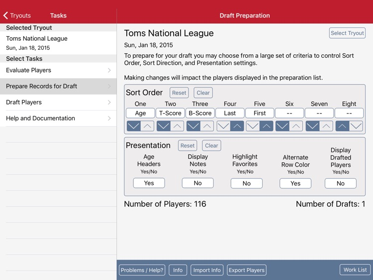 Tryout and Draft Management
