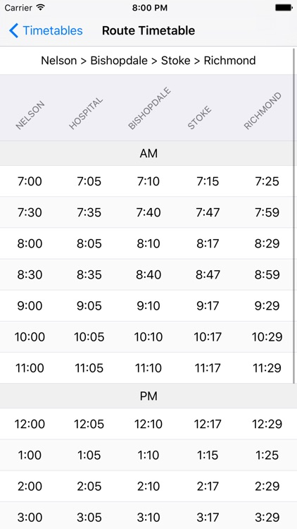 NBus Timetable