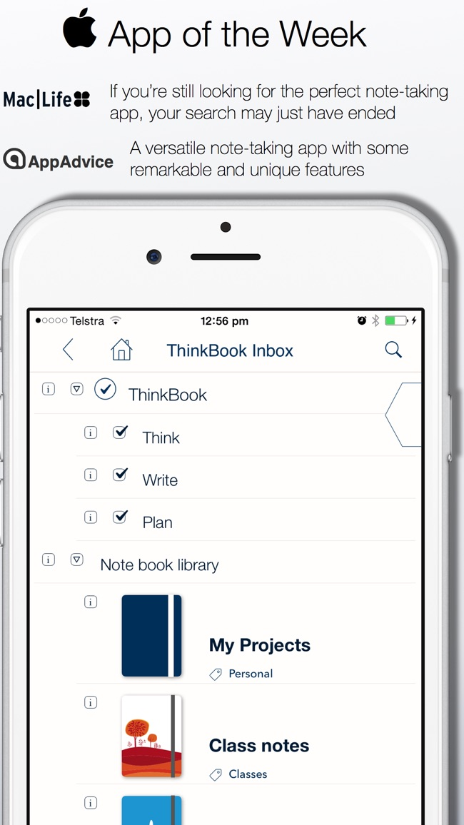 ThinkBook - Todos, Notes, Projects, Outlines Screenshot