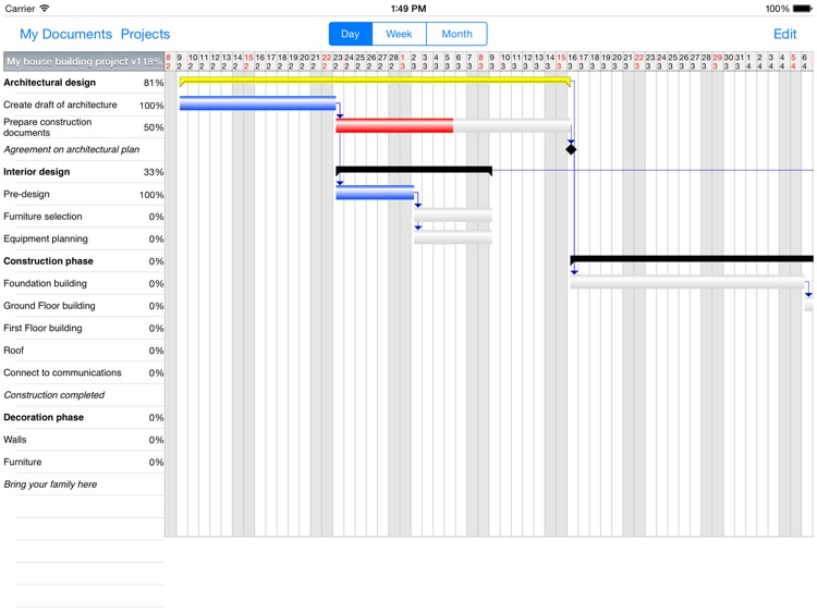 Project Planner HD -Task & Res Mgmt on Gantt chart